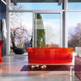 Красная ванна из акрилового стекла