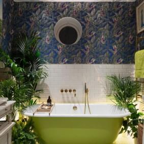 Стальная ванна с зеленой отделкой