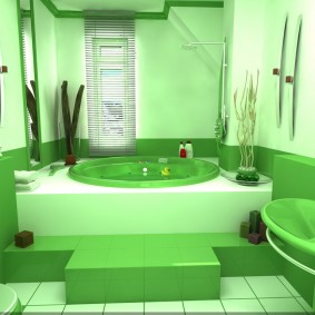 Зеленая ванна на высоком подиуме