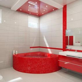 Угловая ванна из красного акрила