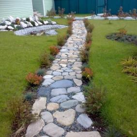 Кустики японской спиреи по краям каменной дорожки