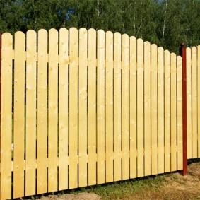 Забор из штакетника на столбах из труб