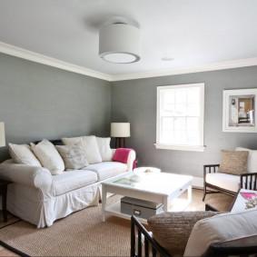 Окраска стен комнаты в серый цвет