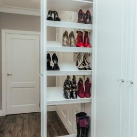 Встроенный шкаф с выдвижной секцией для обуви