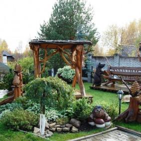 Декор участка малыми архитектурными формами из дерева