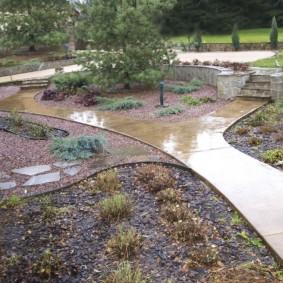 Мокрая поверхность дорожки сразу после дождя