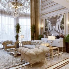 Зона отдыха с классической мебелью