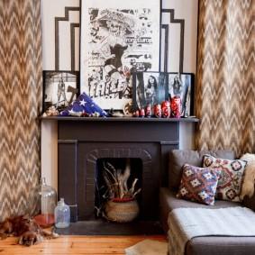 Оформление гостиной комнаты с декоративным камином