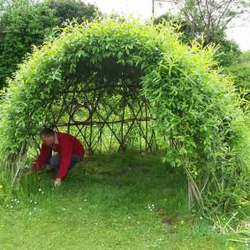 Сооружение садовой беседки из ивы своими руками