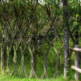 Декоративный забор из гибких веток