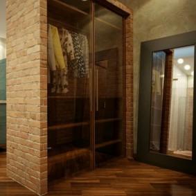 Встроенный шкаф с прозрачными дверками