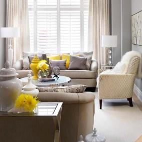 Дизайн гостиной комнаты с желтыми акцентами