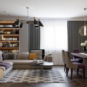 Расстановка мебели в гостиной-столовой площадью 25 кв м