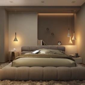 Освещение спальни в серых тонах