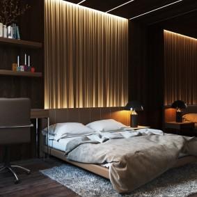 Современный интерьер спальни квадратной формы
