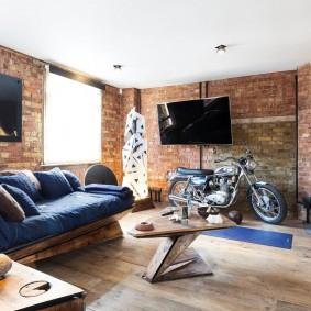 Интерьер просторной гостиной в стиле лофт