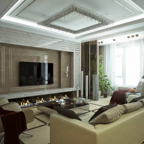 Многоуровневый потолок в трехкомнатной квартире