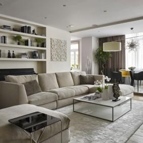 Встроенные полки в комнате с диваном