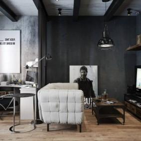 Белое кресло в черной комнате