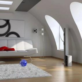 Мужская комната в мансарде загородного дома