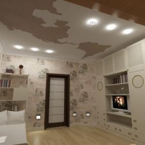 Подвесной потолок в квадратной комнате