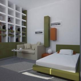 Встроенный стеллаж в интерьере комнаты