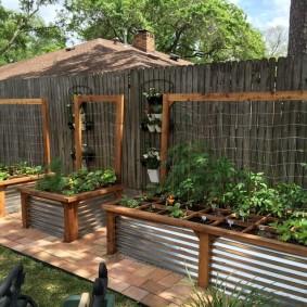 Деревянный забор в огороде с умными грядками