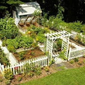 Белый заборчик вокруг огорода на садовом участке