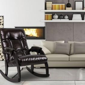 Компактное кресло-качалка с каретной стяжкой