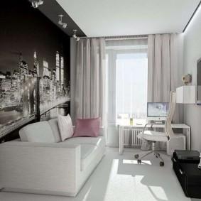 Фотообои в интерьере небольшой гостиной