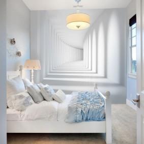 3D-обои в спальне с белой отделкой