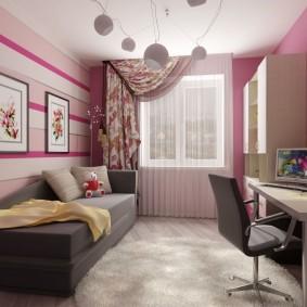 Розовые акценты в детской комнате