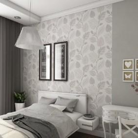 Пример зонирования спальни обоями на стене