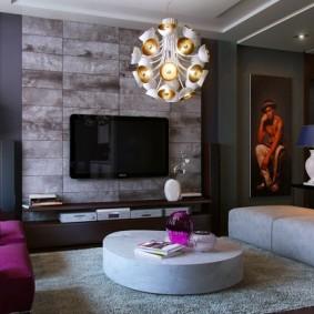 Оформление стены с телевизором серыми панелями