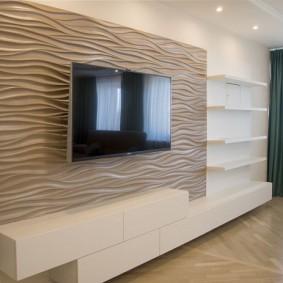 Объемные панели за телевизором в зале