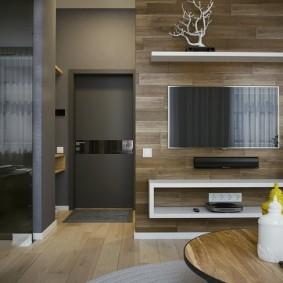 Использование ламината для отделки акцентной стены гостиной