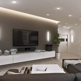 Фоновое освещение в комнате с телевизионной панелью