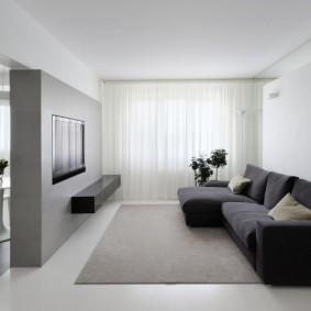 Серая гостиная в стиле минимализма
