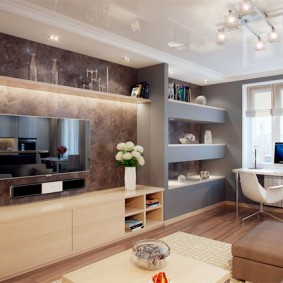 Встроенные стеллажи в дизайн гостиной