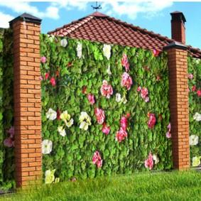 Цветочный рисунок на профлисте садового забора