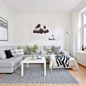 Отделка стен гостиной в скандинавском стиле