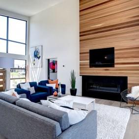 Дизайн гостиной с биокамином в интерьере