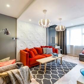 Зонирование гостиной отделкой стен и потолка