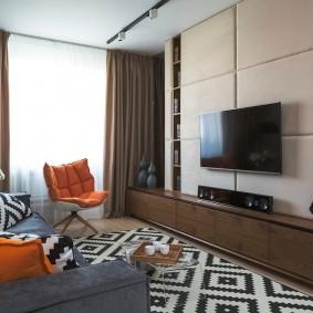 Мягкая отделка стены с телевизионной панелью