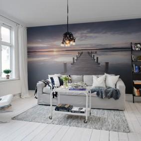 Интерьер гостиной с перспективой на фотообоях