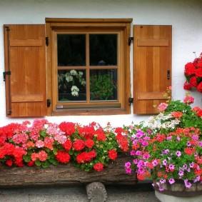 Окно сельского дома с деревянными ставнями