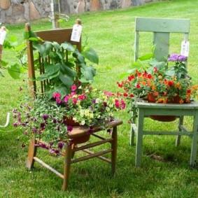 Деревянные стулья в качестве цветочных клумб