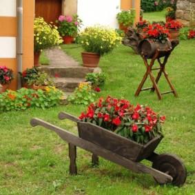 Деревянная тачка в роли клумбы для цветов