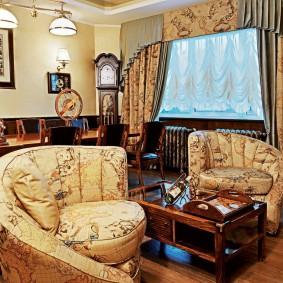Комбинированный ламбрекен в интерьере гостиной