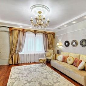 Освещение гостиной комнаты с гипсокартонным потолком